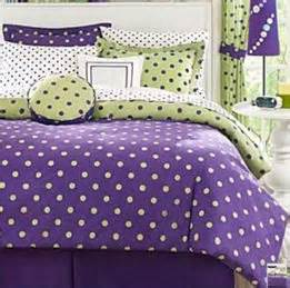 Girls lime green and purple andwhite polka dot soda bedding royal