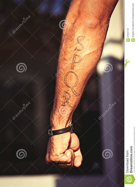 roman gladiator tattoo spqr rome italian man arm stock