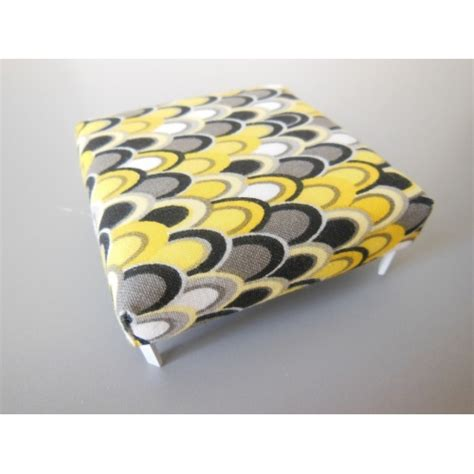 gray and yellow ottoman modern dollhouse furniture m112 pods ottoman in yellow gray teardrop print by paris renfroe