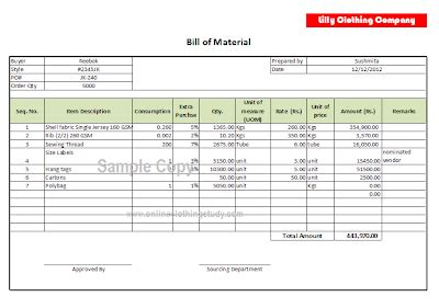 Bill Of Material Bom Format Online Clothing Study Bill Of Materials Template