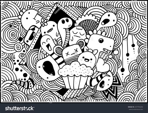 doodle monsters vector vector doodle monsters vectores en stock
