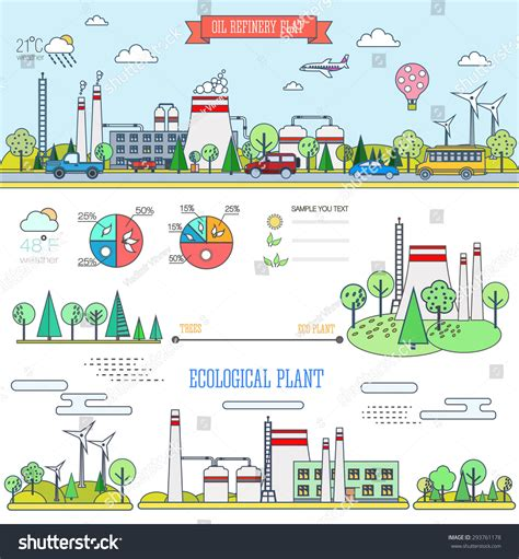 plant layout elements flat line infographic plant design graphics stock vector