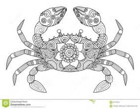 hand drawn crab zentangle style for coloring book for