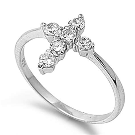 925 Silver Cross Ring sterling silver s clear cz cross ring unique 925