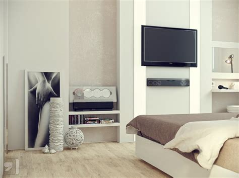 Tv In Bedroom Ideas | white cream bedroom decor tv olpos design