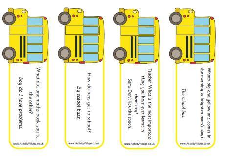 printable joke bookmarks school bus bookmarks jokes back to school pinterest