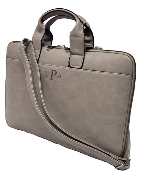 vegan leather laptop bag monogram