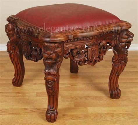 ottoman the lion mahogany gothic lion throne ottoman footstool stool brown