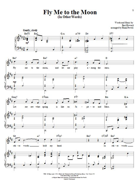 tutorial piano fly me to the moon fly me to the moon in other words sheet music by frank