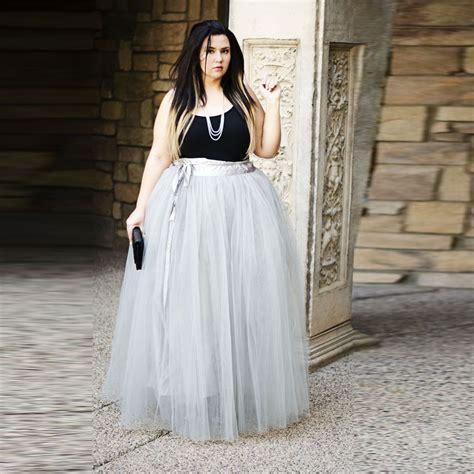 plus size tulle skirt wide band waistline a line floor