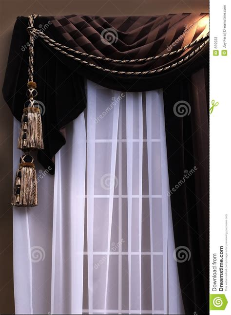 brown swag curtains curtains stock photos image 559933