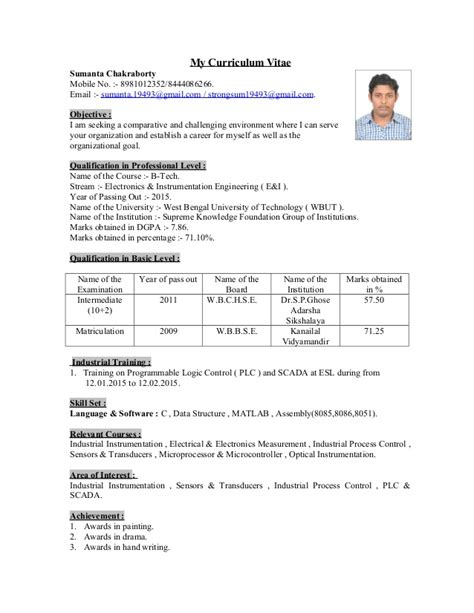 curriculum vitae with photo scaned signature