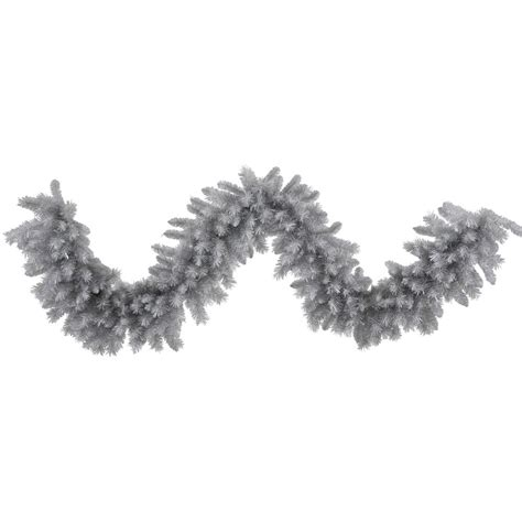9 foot artificial silver white pine garland unlit n135217