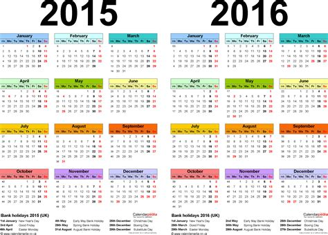 2016 Calendar Year Two Year Calendars For 2015 2016 Uk For Word