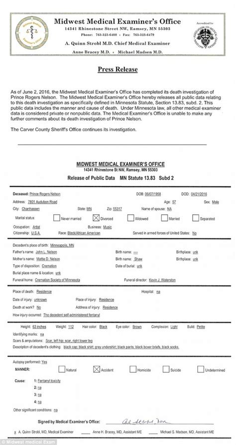 Official Autopsy Results For Smith by Prince S Was Caused By Opioid Overdose Daily Mail