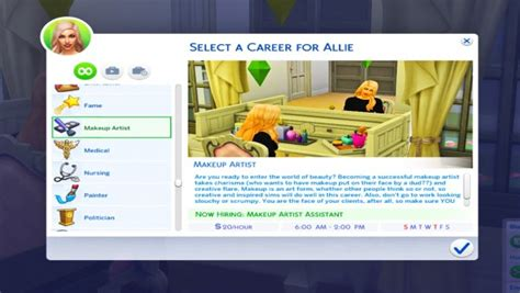 actor career sims 4 cheat mod the sims makeup artist career 10 levels by kpc0528