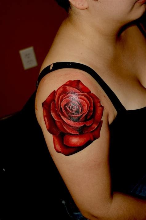 red rose tattoo on shoulder beautiful black shoulder for