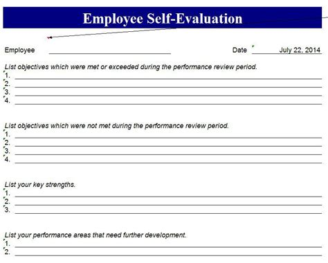 employee review form template free employee performance evaluation form template