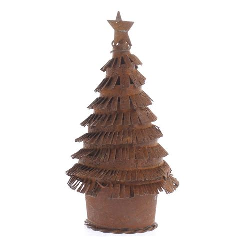 small rusty tin christmas tree figurine table shelf