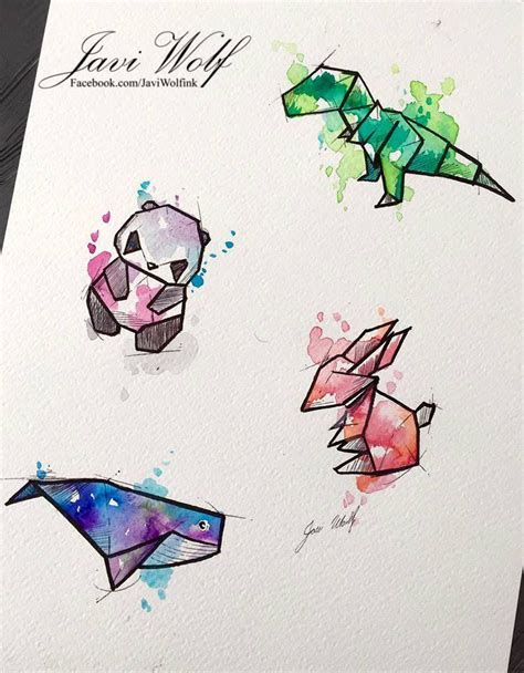 watercolor tattoo origami watercolor origamis 2 by javiwolfink my work
