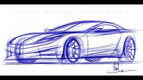 sketch book car how to draw cars sketching a car in 3 4 view vid 1