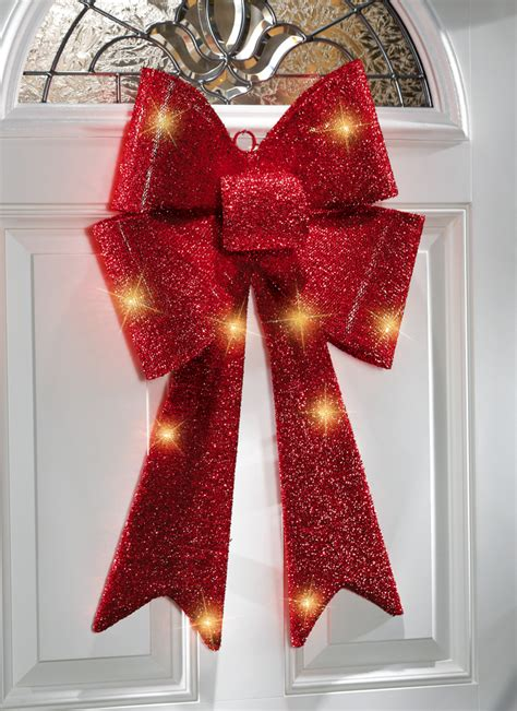 large lighted bow lighted sparkling bow indoor