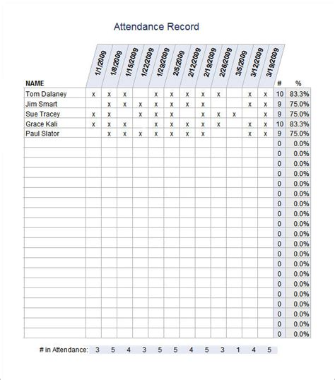 attendance record template attendance sheet templates 11 free documents