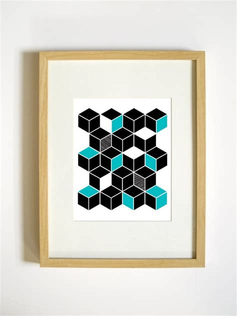 Retro Geometric Shapes Wall Decor Aqua And Black Cubes Cube Wall Decor
