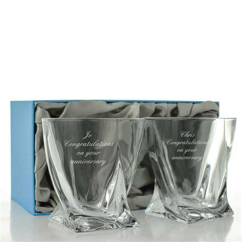 Engraved Quadro Whiskey Glass Set