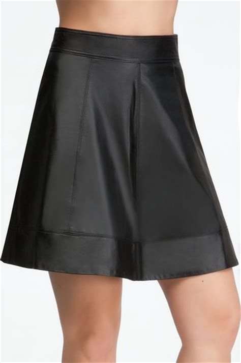 bebe leather circle skirt in black blk lyst