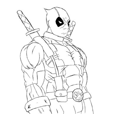 free deadpool black and white coloring pages