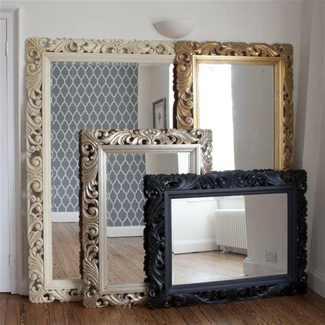 carved wood black framed mirror wooden framed mirrors