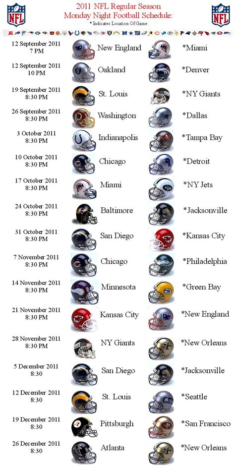 printable nfl monday night football schedule 2015 monday night football schedule autos post