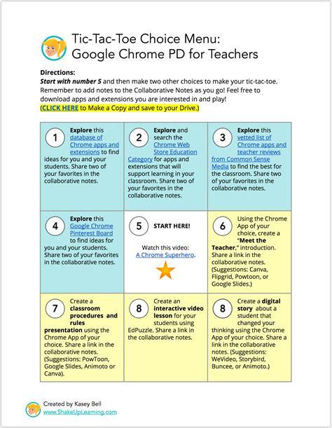 tic tac toe menu template interactive learning menus choice boards using docs