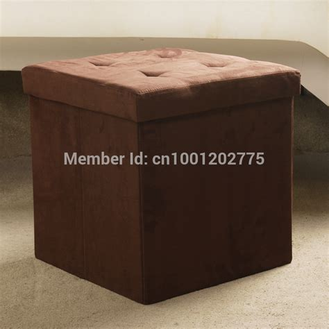Ottoman For Sitting Suede Color Foldable Ottoman Storge Box Sitting Stool