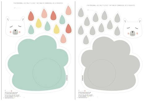 free clouds template for card paper cloud raindrop mobile with free printable template