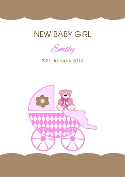 Baby Birthday Card Design Personalised New Baby Girl Card Design 4