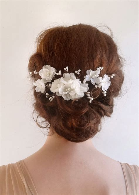 Wedding Flower Hair Comb accessories bridal hair comb white flower 2226176