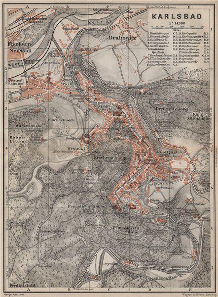 czechoslovakia map karlovy vary town city plan mesta carlsbad karlsbad republic 1905 map