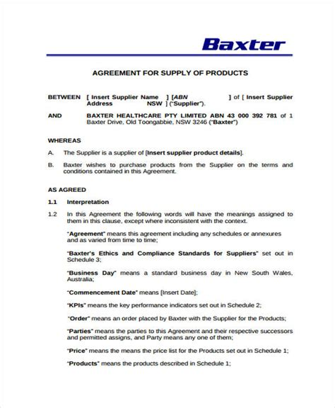 supplier agreement template 9 supply contract templates sle exle free