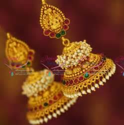 j3428 temple laxmi indian jewellery god design red gold