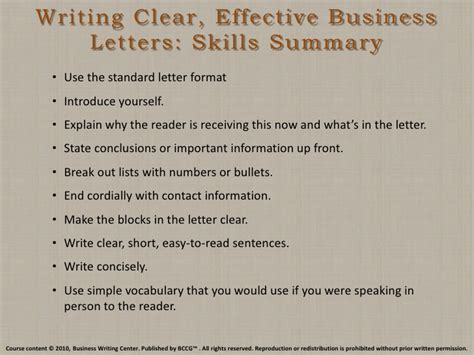 Business Letter Writing Skills Writing Clear Effective Business Letters Skills Summary