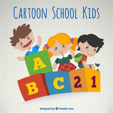 imagenes jovenes escolares dibujos animados de ni 241 os escolares descargar vectores