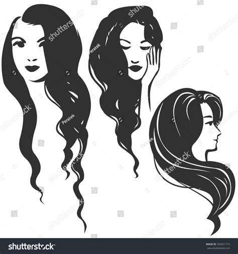 three women silhouettes long hair vector stock vector