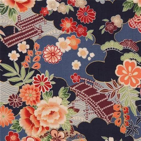 tessuti fiorati tissu kokka bleu marine avec fleurs japonaises et dorures
