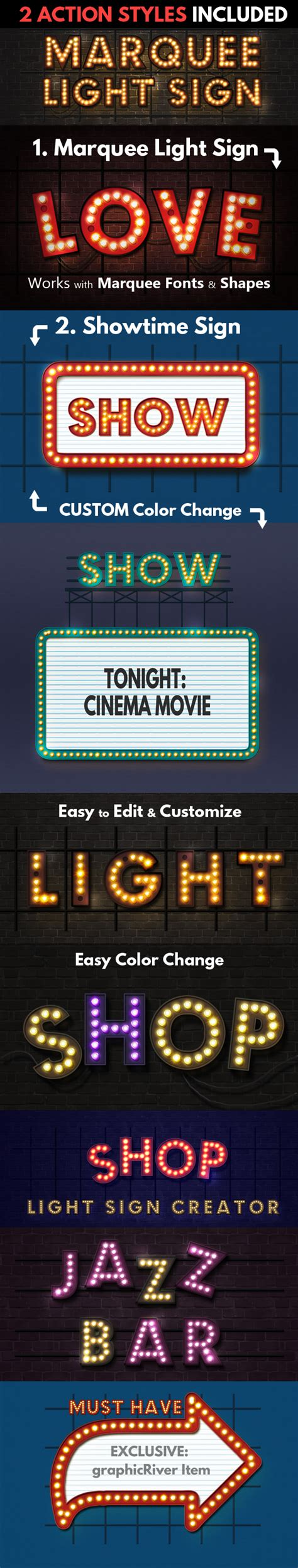 Marquee Lights And Showtime Sign Photoshop Actions By Showtime Lights