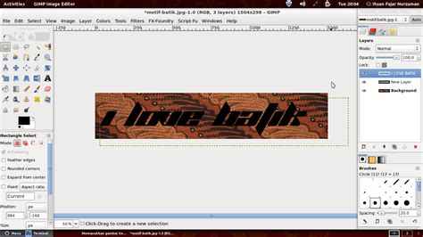 tutorial gimp layer tutorial gimp text batik ubuntu linux blog indonesia
