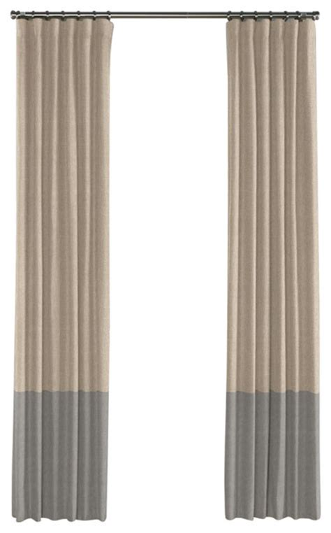 Taupe Color Curtains Light Taupe And Gray Linen Color Block Curtain Single Panel Contemporary Curtains By Loom