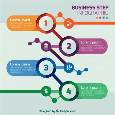 Business Step Infographic Template Vector Free Download Step By Step Infographic Template