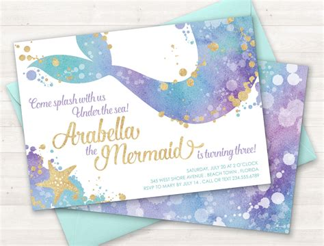 mermaid invitation template mermaid invitation mermaid invite the sea